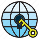 connection, electronics, global, internet, key, lock, vpn icon