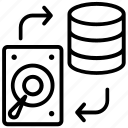 datacenter, database storage, storage backup, data copy, data storage icon