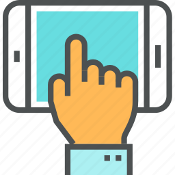 hand, mobile, phone, screen, smartphone, touch, use, using icon