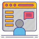 computer, feature, requests, user icon