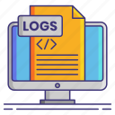 computer, logs, monitor icon