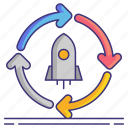 cycle, launch, release, rocket icon