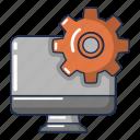 cartoon, computer, device, logo, monitor, object, repair