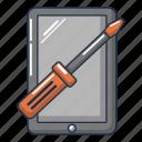 cartoon, computer, device, logo, object, repair, tablet