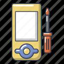 cartoon, computer, device, logo, object, player, repair