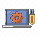 cartoon, computer, device, laptop, logo, object, repair