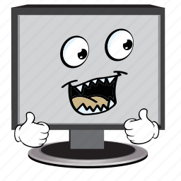 cartoon, computer, emoji, face, screen, smiley icon
