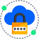 cloud, code, lock, passlock, password, security icon