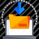 file, folder, insert, laptop, share, technology icon