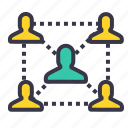 business, chain, connection, employee, follow, people icon