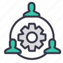 chain, connection, employee, follow, manage, people icon