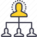 chain, connection, employee, management, power icon
