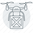 airdrone, delivery, device, drone, quadrocopter, shipping, transportation icon