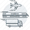 aircraft, plane, shipping, train, transport, transportation, truck icon
