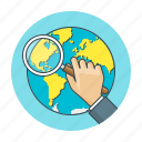 concept, globe, magnifier, magnifying, search, searching, view icon