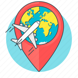address, aircraft, concept, globe, plane, shipping, travel icon