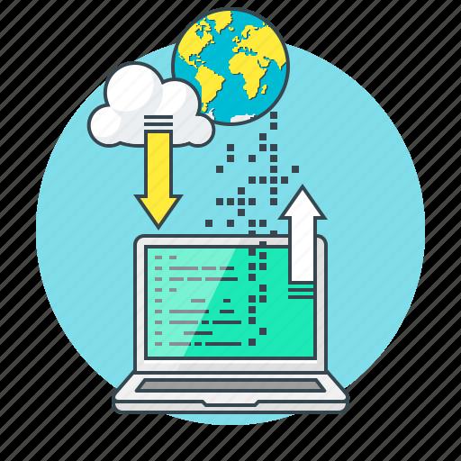 coding, concept, download, programming, seo icon