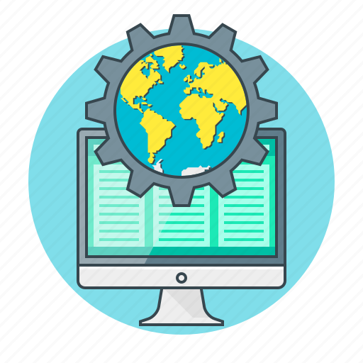 cogwheel, concept, development, globe, optimization, web icon