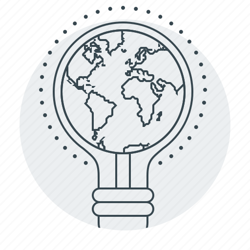 bulb, creative, globe, idea, web icon