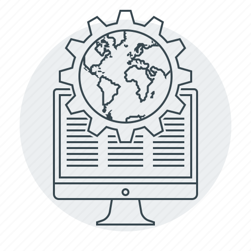 cogwheel, development, globe, optimization, web icon
