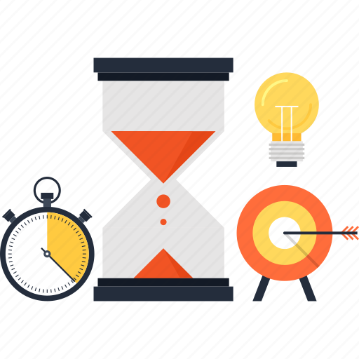 clock, goal, hourglass, idea, management, target, time icon
