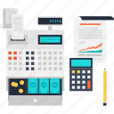 accounting, cash, finance, money, register, report, statistics icon