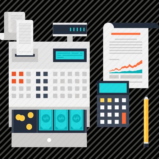 accounting, cash, finance, money, register, report, statistics icon