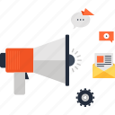 advertising, bullhorn, digital, loudspeaker, marketing, megaphone, promotion icon