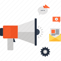 advertising, bullhorn, digital, loudspeaker, marketing, megaphone, promotion icon
