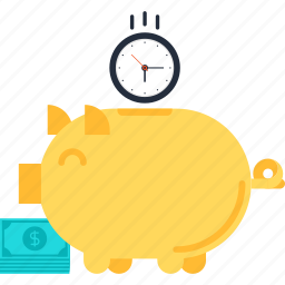 bank, finance, investment, money, piggy, savings, time icon