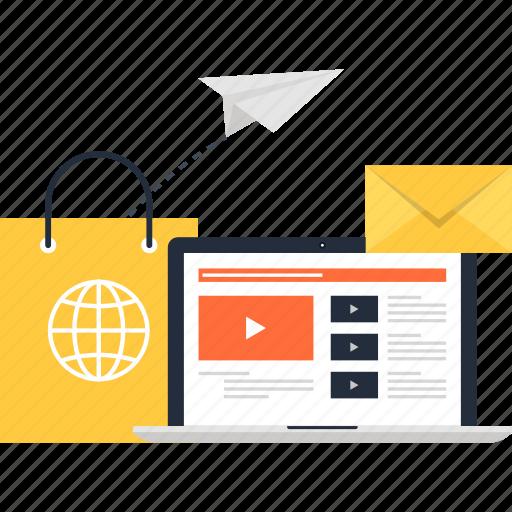 communication, digital, ecommerce, email, marketing, shopping, video icon