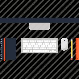 computer, desk, desktop, job, office, table, work icon