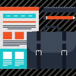 bag, briefcase, design, development, portfolio, project, web icon