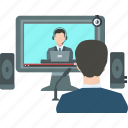 business meeting, communication, computer, conference, link, online conference, video call icon