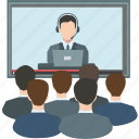 business conference, communication, connection, distance, online conference, online meeting, video icon