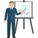 business person, business plan, meeting, presentation, statistics, training icon
