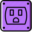 cable, connector, plug, socket, us icon