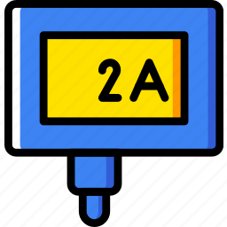 2a, cable, charger, connector, plug icon