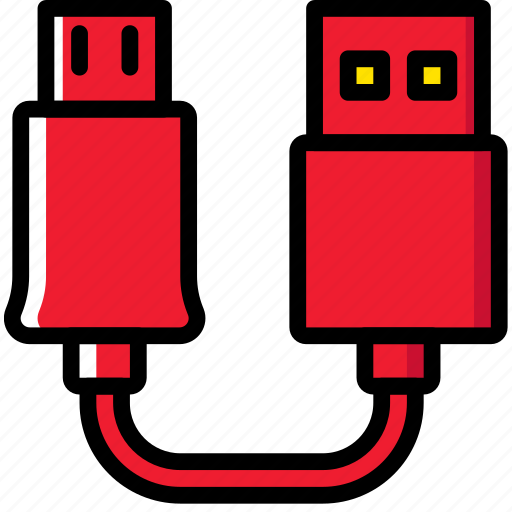 cable, connector, plug, to, usb icon