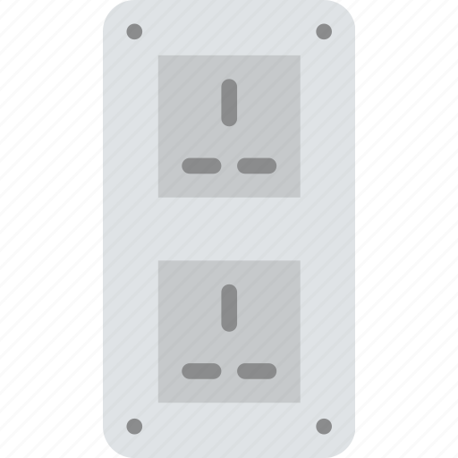 cable, connector, double, plug, socket, uk icon