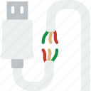broken, cable, connector, plug, usb icon