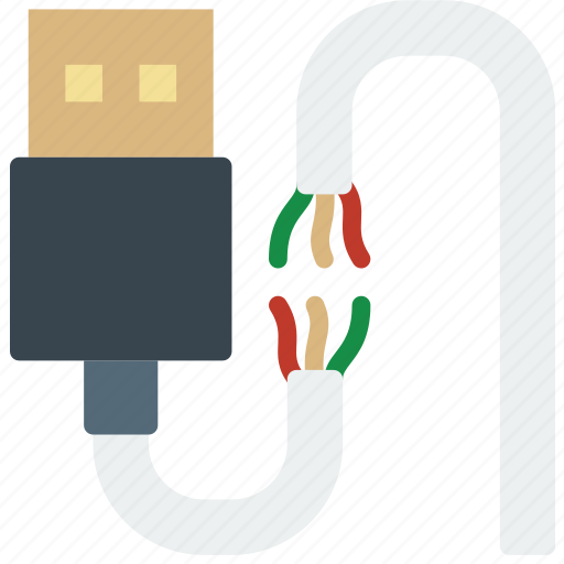 broken, cable, connector, plug, usb icon