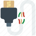 broken, cable, connector, hdmi, plug