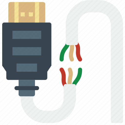broken, cable, connector, hdmi, plug icon