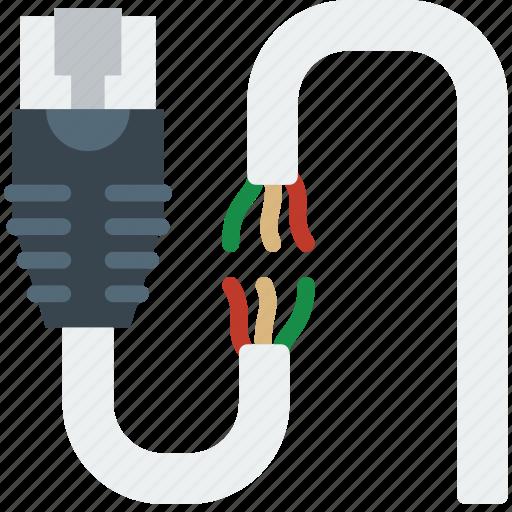 Broken, cable, connector, ethernet, plug icon
