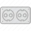 cable, connector, double, eu, plug, socket icon