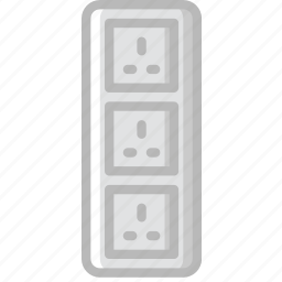 cable, connector, plug, socket, triple, uk icon
