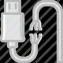 broken, cable, connector, plug, usb