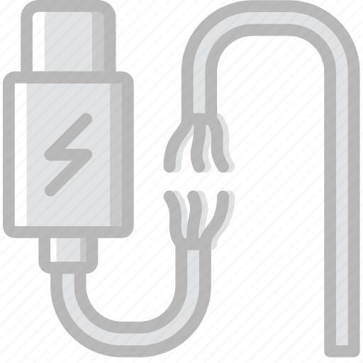broken, cable, charger, connector, plug icon