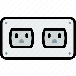 cable, connector, dobule, plug, socket, us icon